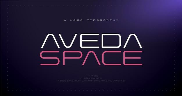 Caratteri alfabetici astratti moderni tipografia gioco sportivo tecnologia logo creativo digitale font