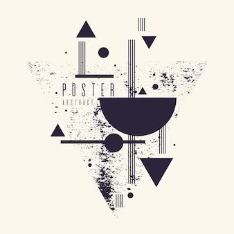 Sfondo geometrico di arte astratta moderna con poster vettoriale piatto in stile minimalista