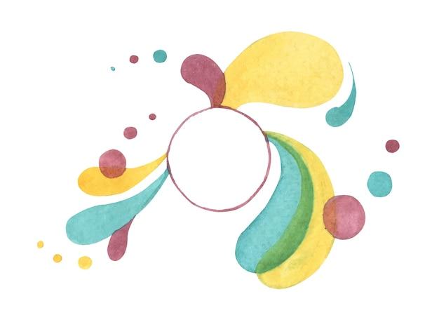 Sfondo astratto moderno. gocce astratte di colore brillante e luogo pulito per il testo. illustrazione di tiraggio della mano dell'acquerello.