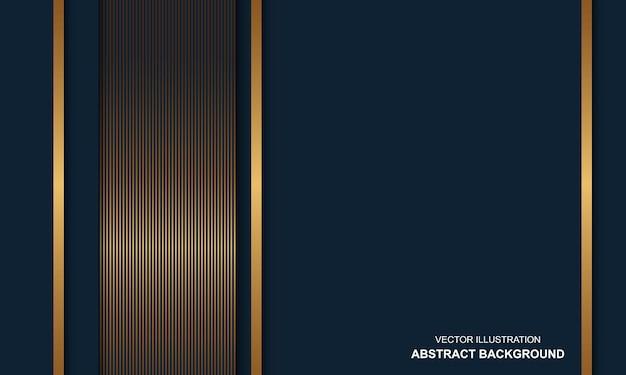 Fondo astratto moderno dop blu con linee dorate