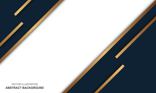 Fondo astratto moderno linee bianche e dorate blu lusso