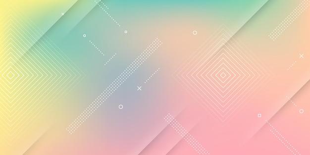 Sfondo astratto moderno con effetto sfocato, colori tenui dell'arcobaleno ed elementi di memphis.