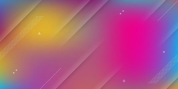 Sfondo astratto moderno con effetto sfocato, colori vivaci dell'arcobaleno ed elementi di memphis.