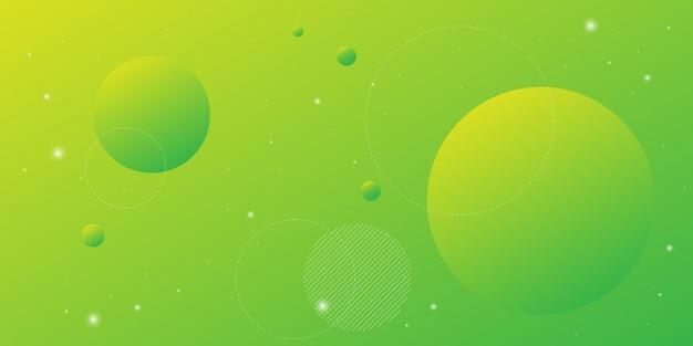 Sfondo astratto moderno con elementi di linea circolare e colore giallo verde sfumato con il tema della tecnologia digitale.