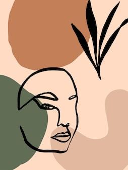 Sfondo astratto moderno con faccia di arte di linea e forme astratte