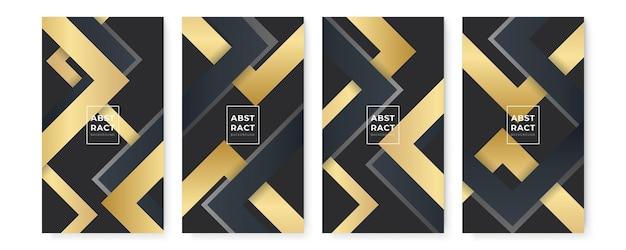 Sfondi neri astratti moderni con linee dorate