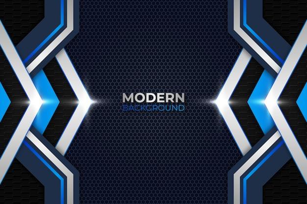 Cenni storici astratti moderni di bagliore del triangolo blu e bianco