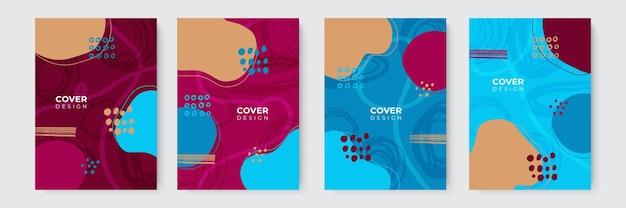 Set di copertine astratte moderne, design minimale delle copertine. sfondo geometrico colorato, illustrazione vettoriale. Vettore Premium