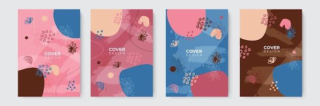 Set di copertine astratte moderne, design minimale delle copertine. sfondo geometrico colorato, illustrazione vettoriale.