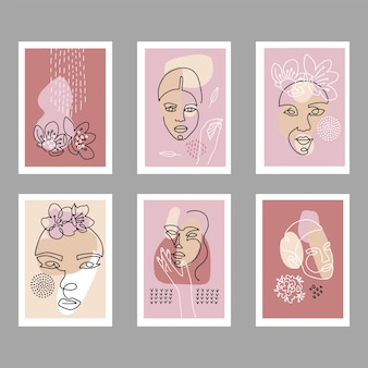 Set di poster di volti astratti moderni. siluette femminili contemporanee con decorazioni astratte.