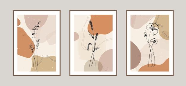 Fondo moderno di arte di linea di fiori astratti con forme diverse per la cartolina della decorazione della parete