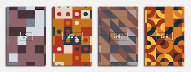 Poster geometrici astratti moderni con motivi geometrici colorati