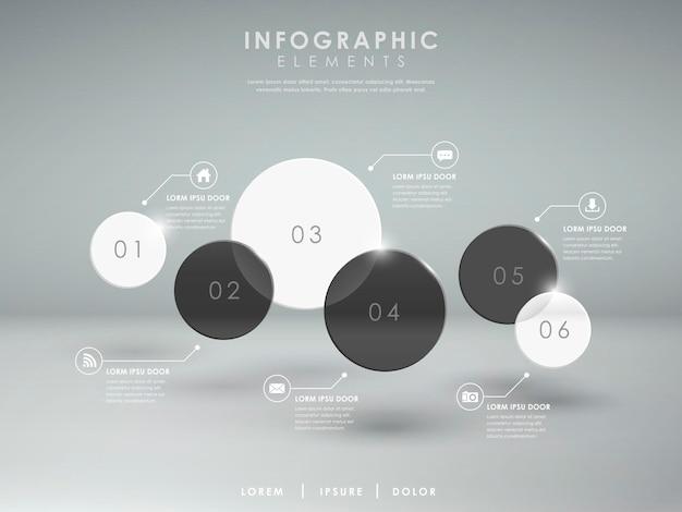 Elementi infographic del cerchio traslucido lucido astratto moderno
