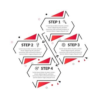 Infografica astratta moderna con linea sottile e 4 opzioni o passaggio. perfetto per presentazioni, diagrammi di processo, flussi di lavoro e banner