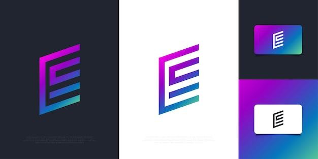 Modello moderno e astratto di progettazione del logo della lettera e in gradiente colorato con il concetto minimo. simbolo grafico dell'alfabeto per l'identità aziendale aziendale