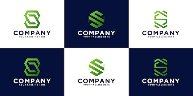 Collezione di logo di design iniziale moderna lettera s astratta