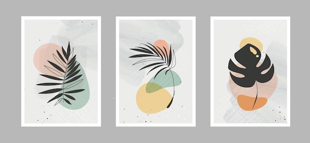 Moderna linea astratta fiori in linee e sfondo artistico con forme diverse per la decorazione della parete
