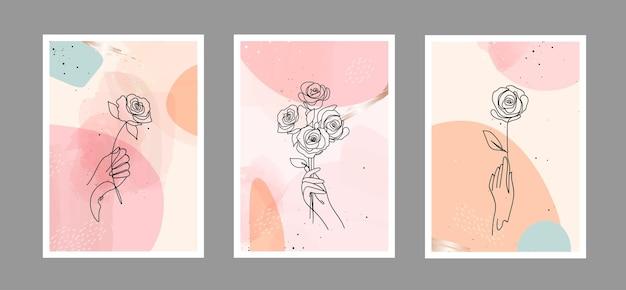 La linea astratta moderna è rosa in linee e sfondo artistico con forme diverse per la decorazione della parete