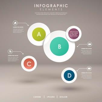 Elementi infografici del grafico a torta di carta astratta moderna