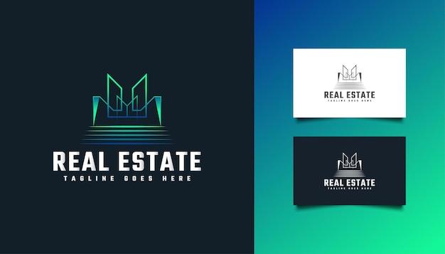 Logo immobiliare moderno e astratto in blu e verde. logo di costruzione, architettura, edificio o casa