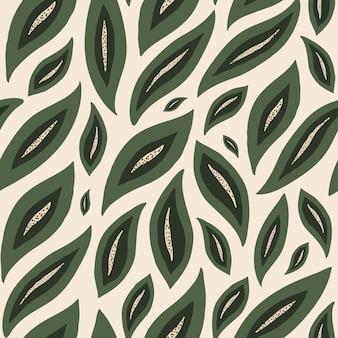 Modello senza cuciture astratto moderno con foglie verdi colorate su sfondo pastello