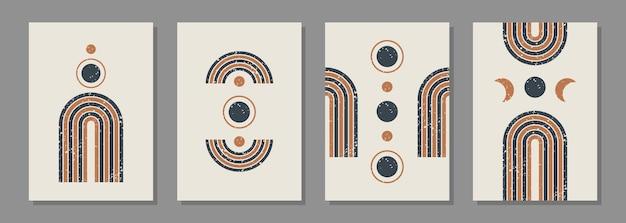 Sfondi estetici set astratti moderni con vari arcobaleno e cerchi geometrici testurizzati