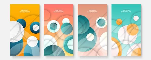 Set di copertine di modelli di social media astratti moderni, design di copertine minimali. sfondo geometrico colorato, illustrazione vettoriale.
