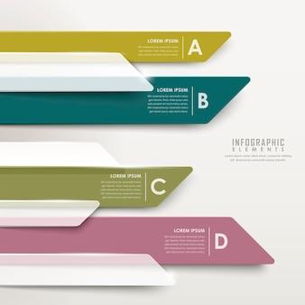 Elementi infografici del grafico a barre traslucido astratto moderno della freccia
