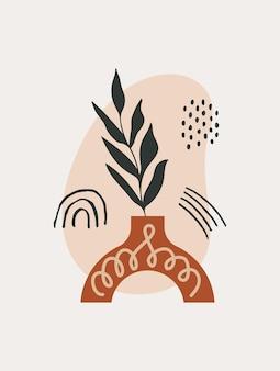 Moderna arte murale tropicale astratta con piante di varie forme e oggetti scarabocchiati su sfondo pastello