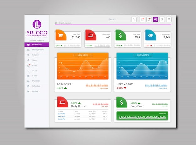 Moderno schema di disegno di illustrazione dashboard admin