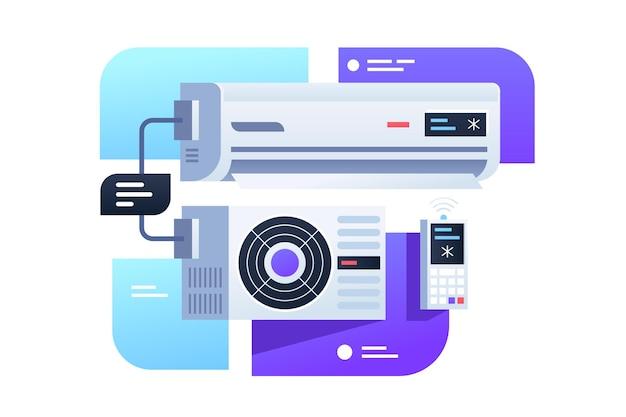 Aria condizionata moderna con telecomando. icona di tecnologia digitale concetto isolato sulla casella di descrizione.