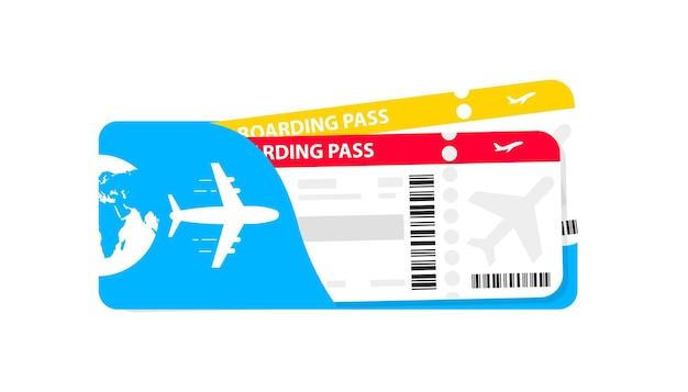 Design moderno dei biglietti aerei con tempo di volo e nome del passeggero. pittogramma di vettore di biglietti aerei. modello di carta d'imbarco della compagnia aerea. illustrazione vettoriale. il concetto di trasporto aereo