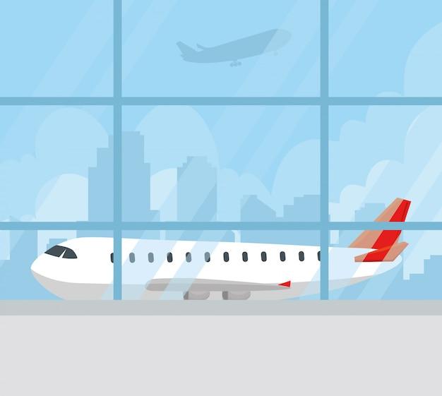 Aereo di linea moderno nel terminale, grande aereo passeggeri commerciale sul disegno dell'illustrazione di vettore dell'aeroporto