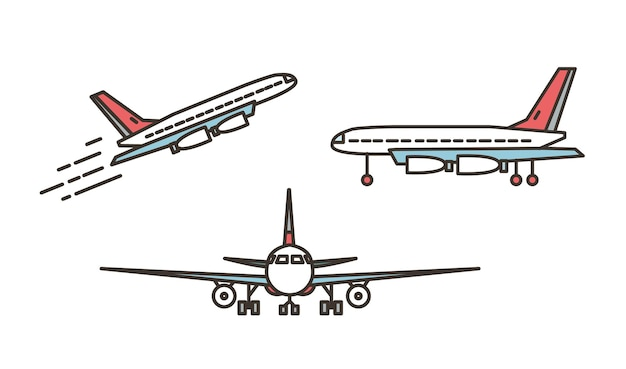 Aereo moderno, aereo passeggeri, aereo di linea o jumbo jet in decollo o in salita e in piedi su un terreno isolato su sfondo bianco. viste frontale e laterale. illustrazione di vettore nello stile di arte di linea.