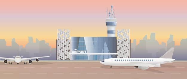 Aeroporto moderno. pista di decollo. aeroplano sulla pista. aeroporto in uno stile piatto. sagoma della città. illustrazione