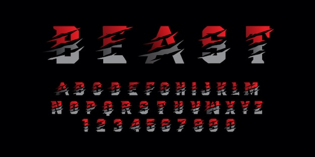 Font alfabeto moderno bestia