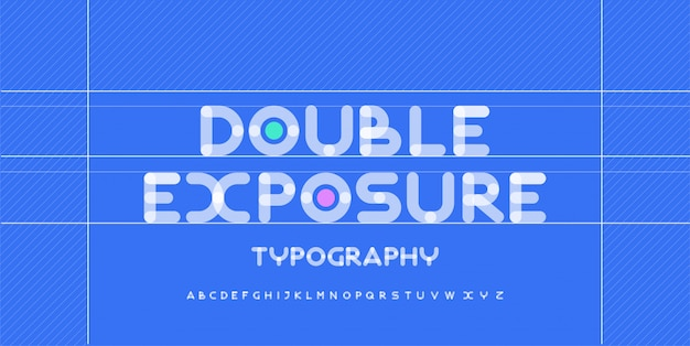 Caratteri arrotondati creativi di alfabeto moderno. tipografia urbana rotonda in grassetto con carattere doppia esposizione punto. illustrazione