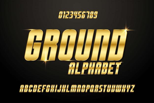 Maiuscolo alfabeto moderno carattere corsivo dorato dorato. illustratore di vettore