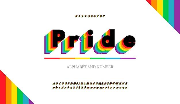 Lettere e numeri dell'alfabeto moderno con i colori dell'arcobaleno. la bandiera arcobaleno colora il carattere lgbt.