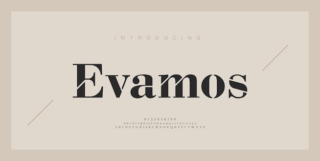 Numero e carattere serif di lettere dell'alfabeto moderno. tipografia elegante lettering classico minimal fashion font design.