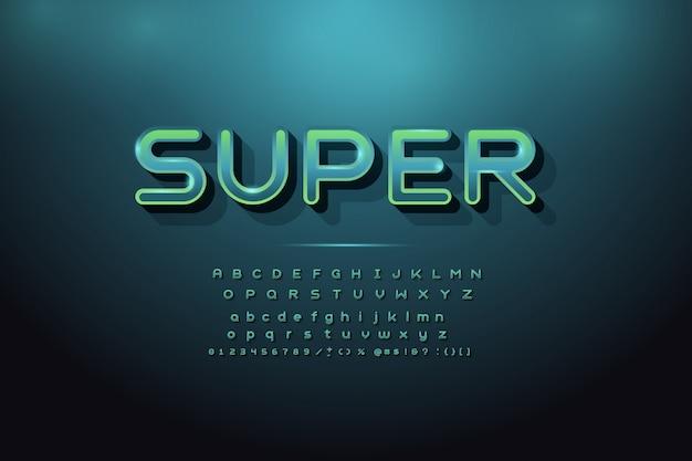 Alfabeto moderno con la parola super