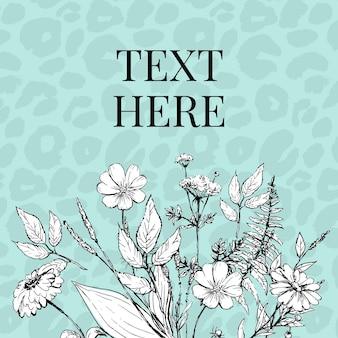 Moderna stampa pelle di animale. illustrazione di fiori disegnati a mano