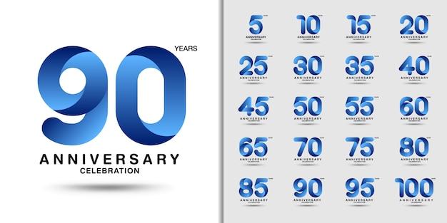 Set di logotipo di celebrazione dell'anniversario moderno.
