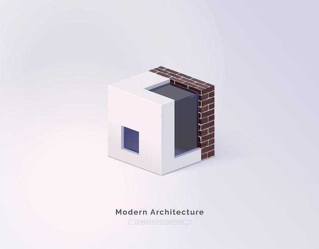 Progettazione architettonica moderna del cottage casa concettuale isometrica