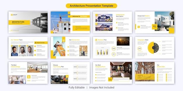 Set di modelli di diapositive per presentazioni powerpoint di architettura moderna Vettore Premium