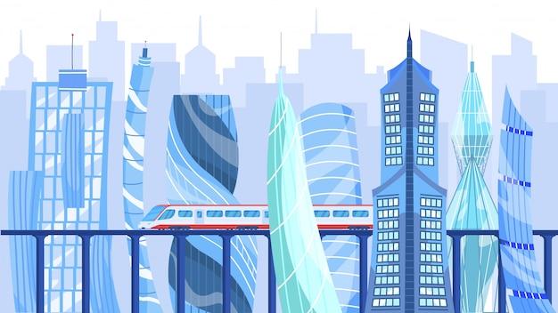 Architettura e trasporto moderni nella città della metropoli, illustrazione