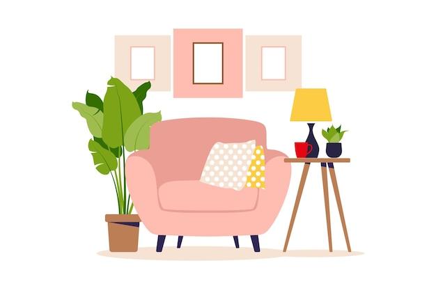 Poltrona moderna con tavolino. interno del soggiorno con mobili. stile cartone animato piatto. illustrazione vettoriale.