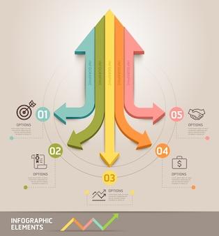 Modello di infografica freccia moderna. può essere utilizzato per layout del flusso di lavoro, diagramma, opzioni di numero, web, infografiche e sequenza temporale.