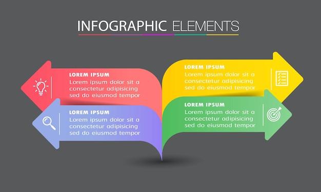 Modello di casella di testo freccia moderna, banner infografica