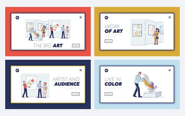 Galleria d'arte moderna con visitatore di cartone animato in mostra